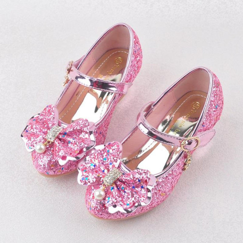 HaoChengJiaDe Flowers Girls Princess Shoes New Brand Spring Autumn Children Wedding Shoes For Student Glitter Kids Party Shoes