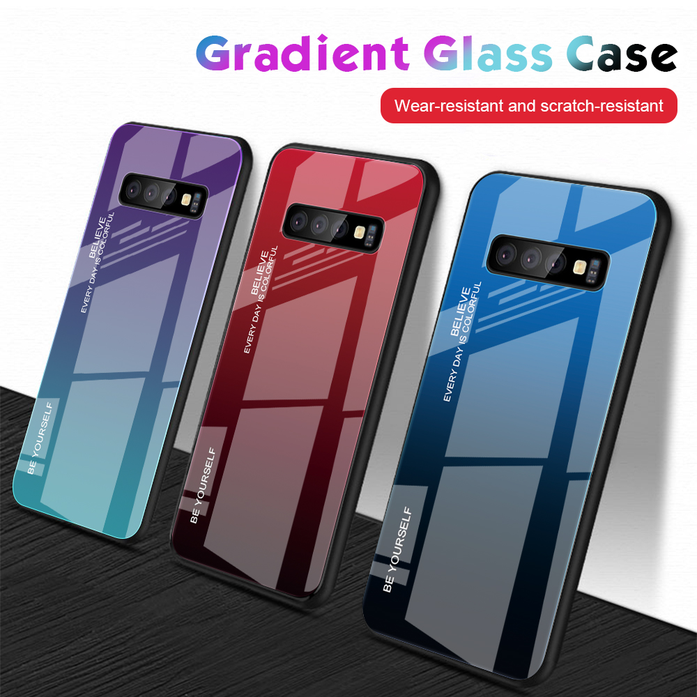 For Samsung Galaxy S10 Plus S10 Lite Case Gradient Tempered Glass Phone Cases For Samsung S10 S9 S8 Plus Note 9 Note 8 Cover     (3)