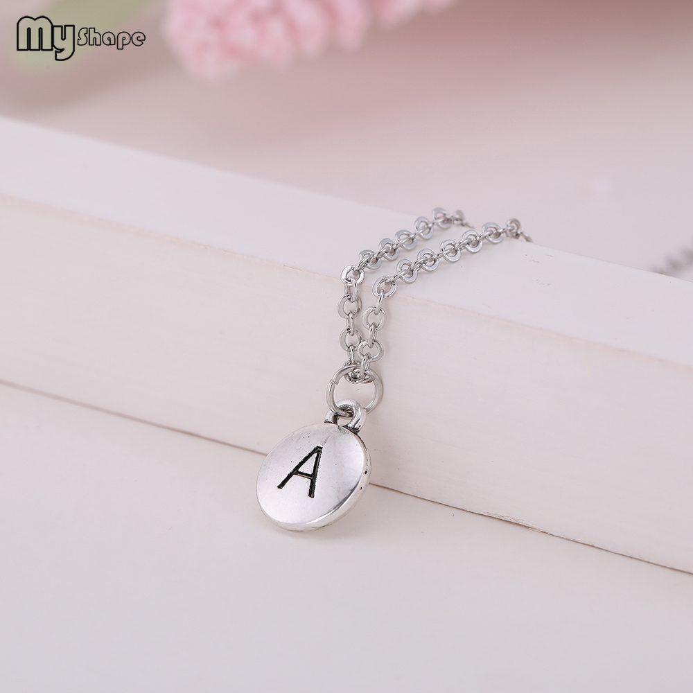 My Shape New Arrival Zinc Alloy Metal Crystal A letter Pendants Chain Necklaces Chic Jewelry for Women in Chain Necklaces from Jewelry Accessories
