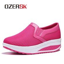 OERSK 2021 nouveau Design chaussures décontractées pour femme sans lacet confortable maille chaussures haute qualité chaussettes baskets semelle rembourrée
