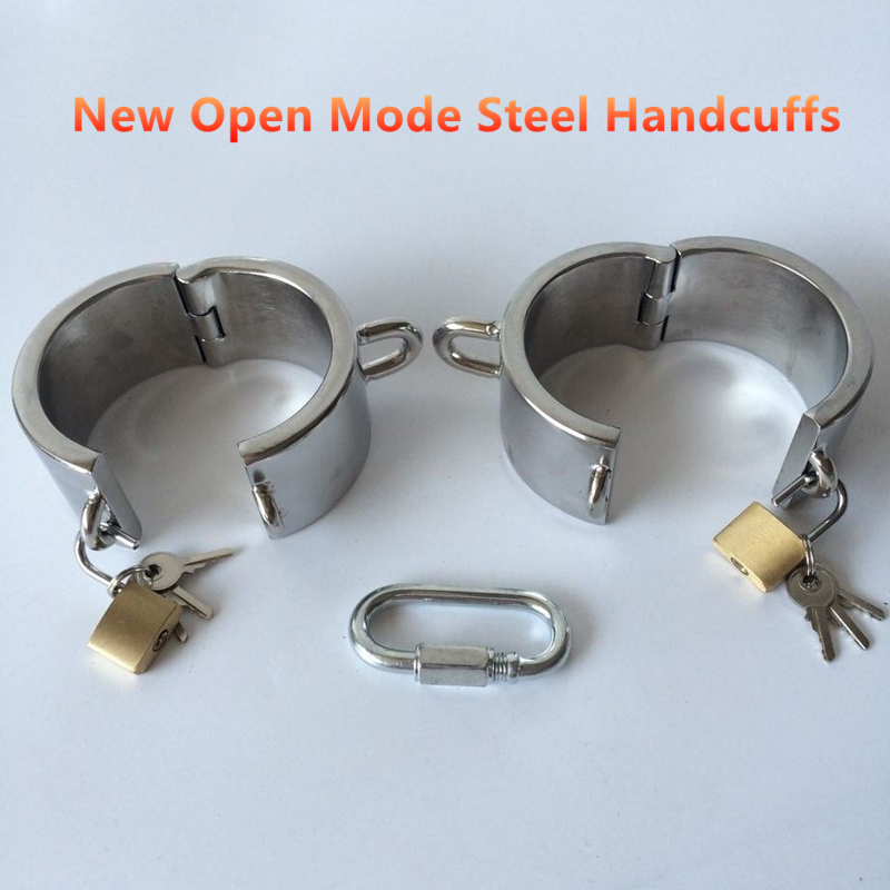 NEW open way stainless steel hand cuffs bdsm bondage restraints fetish sex game erotic toys bondage adult sex toys for couples in Adult Games from Beauty Health