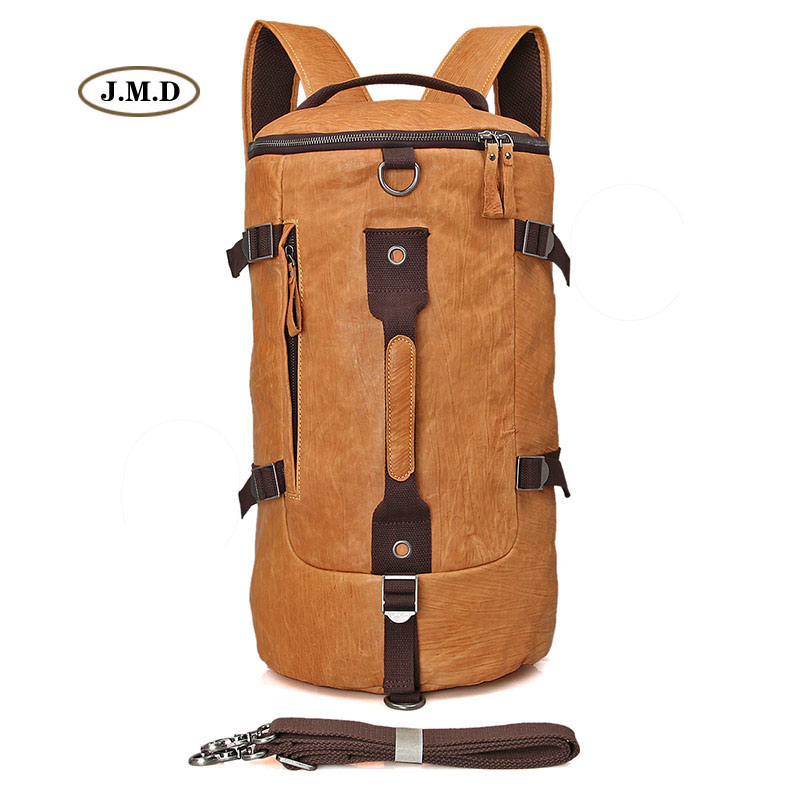 J.M.D Brown Yellow Big Capacity Genuine Cow Leather Unisex Rucksack Bucket Type Fashion New Style Travel Backpack 2003B