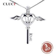 CLUCI 3 pièces romantique ange aile argent 925 clé perle pendentif médaillon femmes bijoux 925 en argent Sterling Cage Pedant médaillon SC025SB