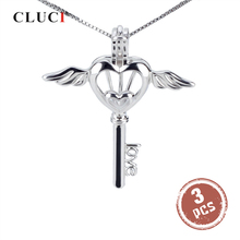 CLUCI 3pcs רומנטי מלאך כנף כסף 925 מפתח פרל תליון תליון נשים תכשיטי 925 סטרלינג כסף כלוב פדנט תליון SC025SB