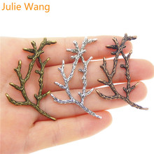 Julie Wang 6PCS Charms Alloy Vintage Branches Mixed Colors Necklace Pendant Findings Jewelry Making Accessories