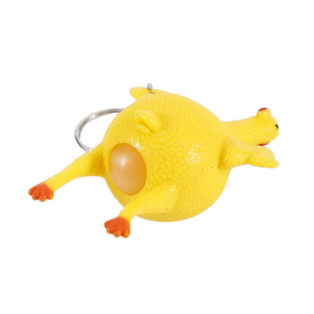 1 шт. Новинка Забавные сжимающие хитрые игрушки-гаджеты выжатые куриные яйца несушки с кольцом для ключей облегчение стресса милые подарки