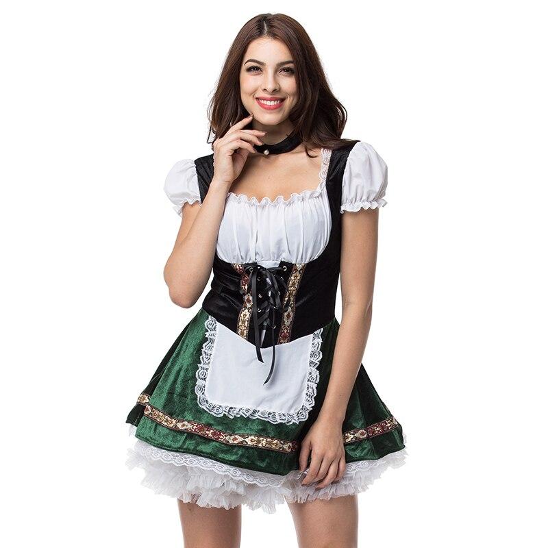 Blanc vert Oktoberfest femme de chambre allemande déguisements Cosplay bière fille Costume Sexy Halloween Costumes pour femmes Deguisement Adultes
