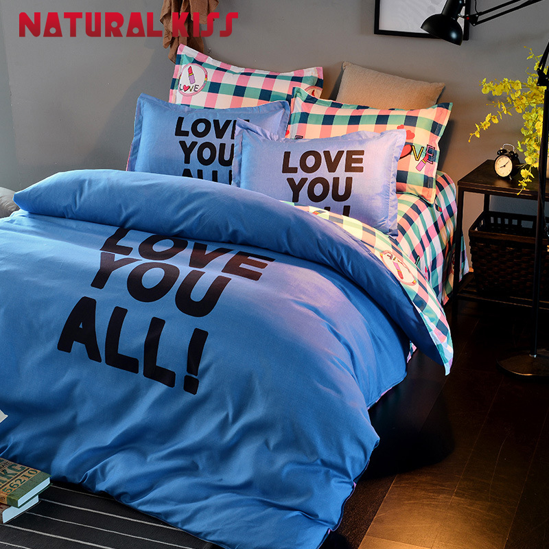 Mode LOVE YOU anglais solide couleur Style maison ensembles de literie drap de lit et Duver couverture taie d'oreiller doux et confortable ensemble de lit