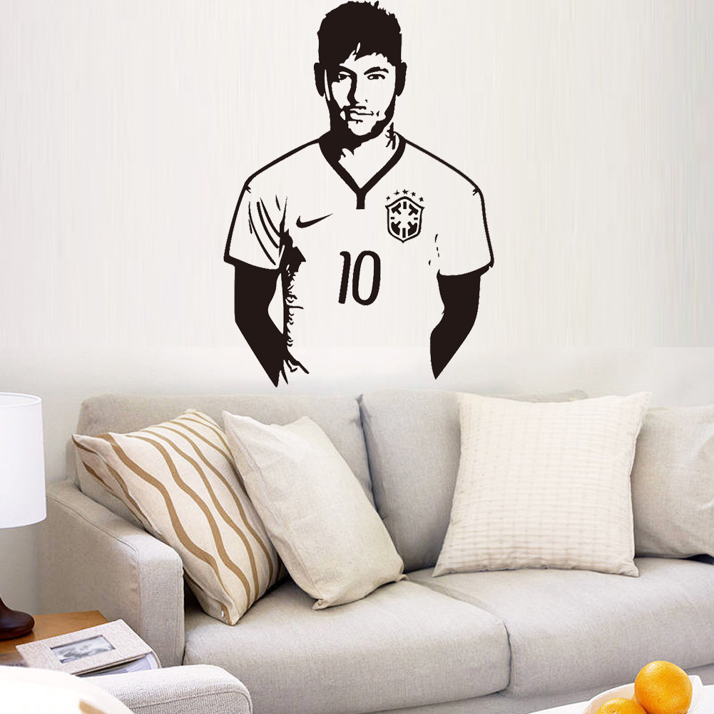 Aw9410 Football Hall of neymar boys bedroom home decor wall stickers removable carved stickers liveroom free shipping in Wall Stickers from Home Garden
