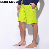 Gsou Snow Brand Men Shorts Beach Surf Wear Solid Short Pant Quick Dry Summer Bermudas Swimming Surfing Diving Motorboat Shorts