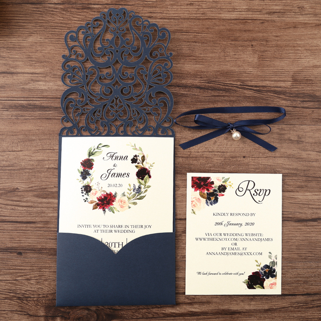 50pcs Navy blue New Arrival Horizontal Laser Cut Wedding Invitations with RSVP card,pearl ribbon,CW25001B,Customizable