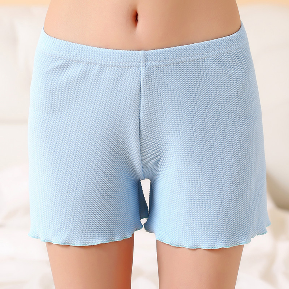 Summer Women Bottoming Safety Pants Sexy Soft Cotton Seamless Casual Panty Underwear Mid Waist Solid Color Blue Girls Onesies