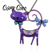 Cring Coco Purple Cat Woman Necklace Animal Womens Necklaces Pendant Trendy 2019 Fashion Long Black Metal Chain Jewelry for Girl