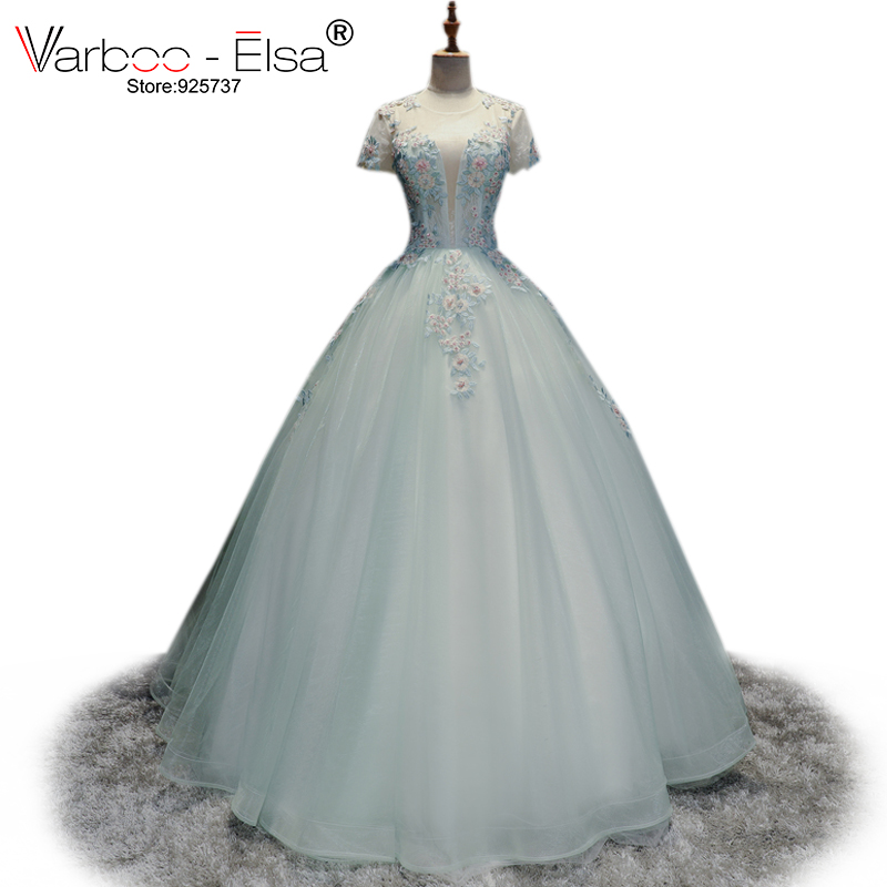 VARBOO_ELSA Sexy Tulle Perspective Evening Sresses 2018 New Light Blue Prom Ball Gown Elegant Lace Embroidery Beaded Party Dress