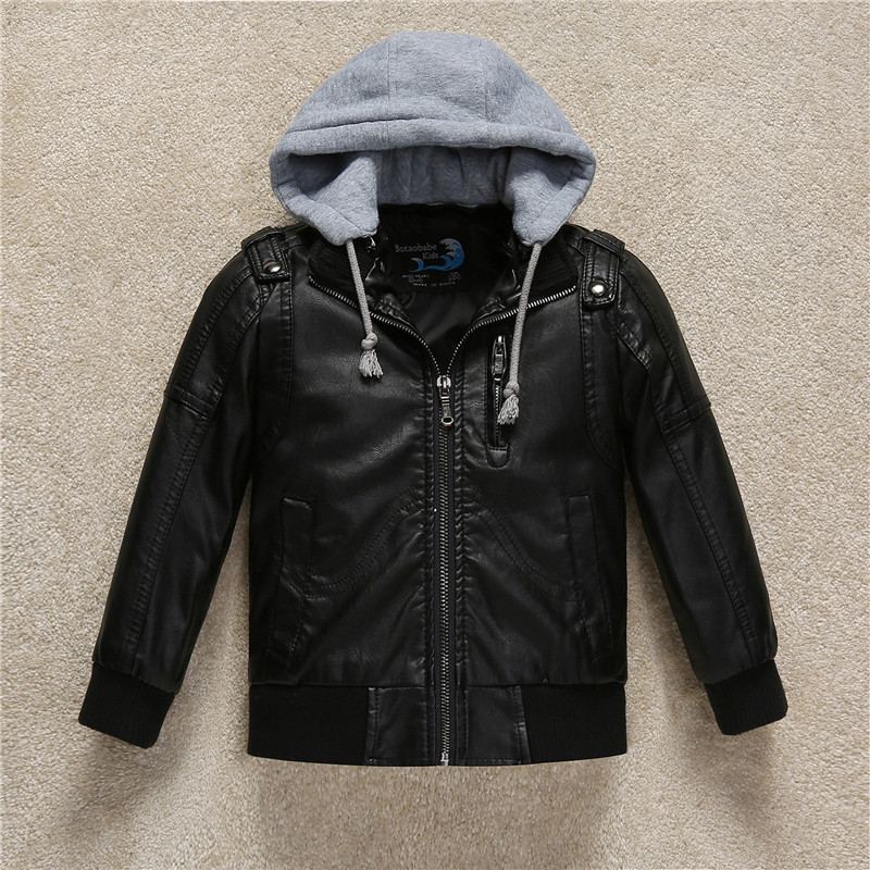 Boys Coat 2018 Fall PU Leather Black Thick Kids Hooded Casual Jacket Toddler Teenage Winter Jackets For Baby Girls Coats 3-11Y