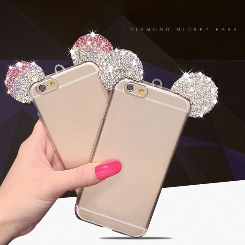 Luxury 3D Diamond Glitter Mickey Minnie Mouse Ears Rhinestone Clear Phone Case For iPhone X XS Max XR 8 7 7Plus 5S SE 6 6S Plus art