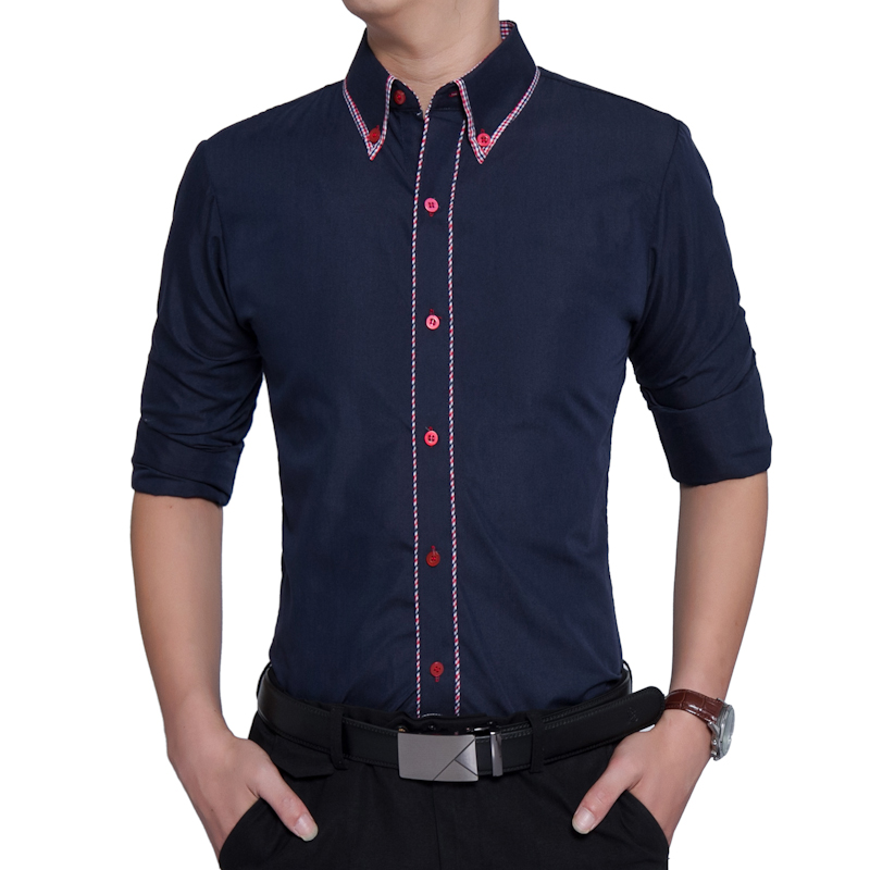 Brand 2018 Fashion Male Shirt Long-Sleeves Tops Soild Color Hit Color Side British Business Mens Dress Shirts Slim Men Shirt 3XL