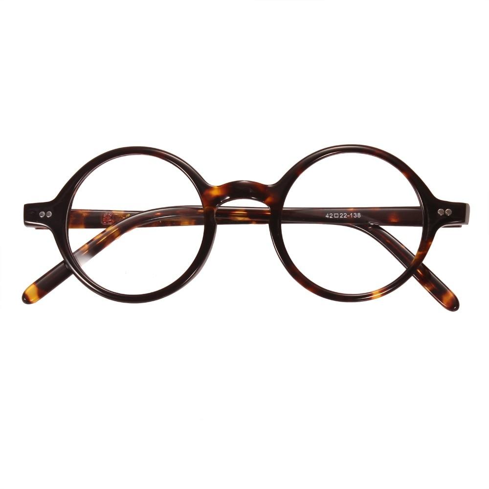 d6184c65c7da Agstum 42mm Small Round Handmade Vintage Retro Optical Tortoise  Prescription Eyeglasses Frame