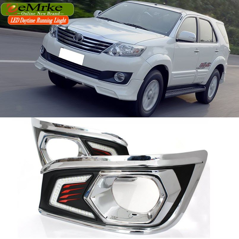 eeMrke LED Daytime Running Lights For Toyota Fortuner 2012 2013 2014 2015 White DRL Light Fog Lamp Cover Kits