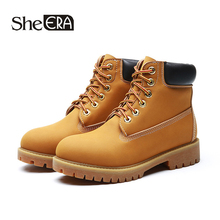 Купить с кэшбэком New Fashion Retro Women Boots Split Leather Women Ankle Boots Yellow Casual Female Shoes Spring/Autumn Lady Shoes She ERA