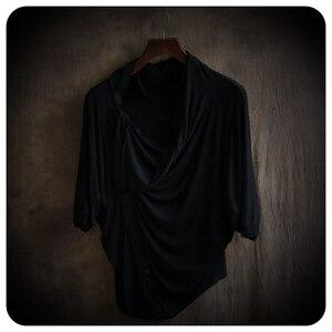 Image 3 - Hauts à manches asymétriques homme, 2 couleurs, haut de gamme, à la mode, non courant, vêtements pour hommes