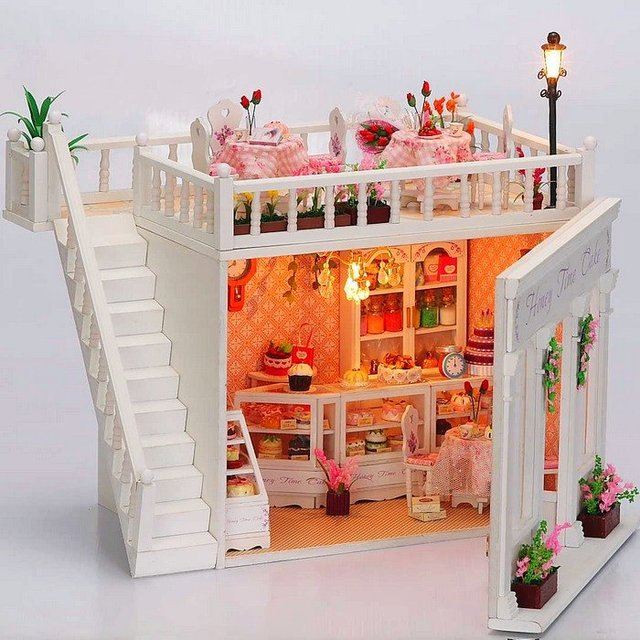 US $70 0  3D LED LIGHT Dollhouse miniatures The penthouse balcony Honey  Time Cake Kit-in Doll Houses from Toys & Hobbies on Aliexpress com    Alibaba