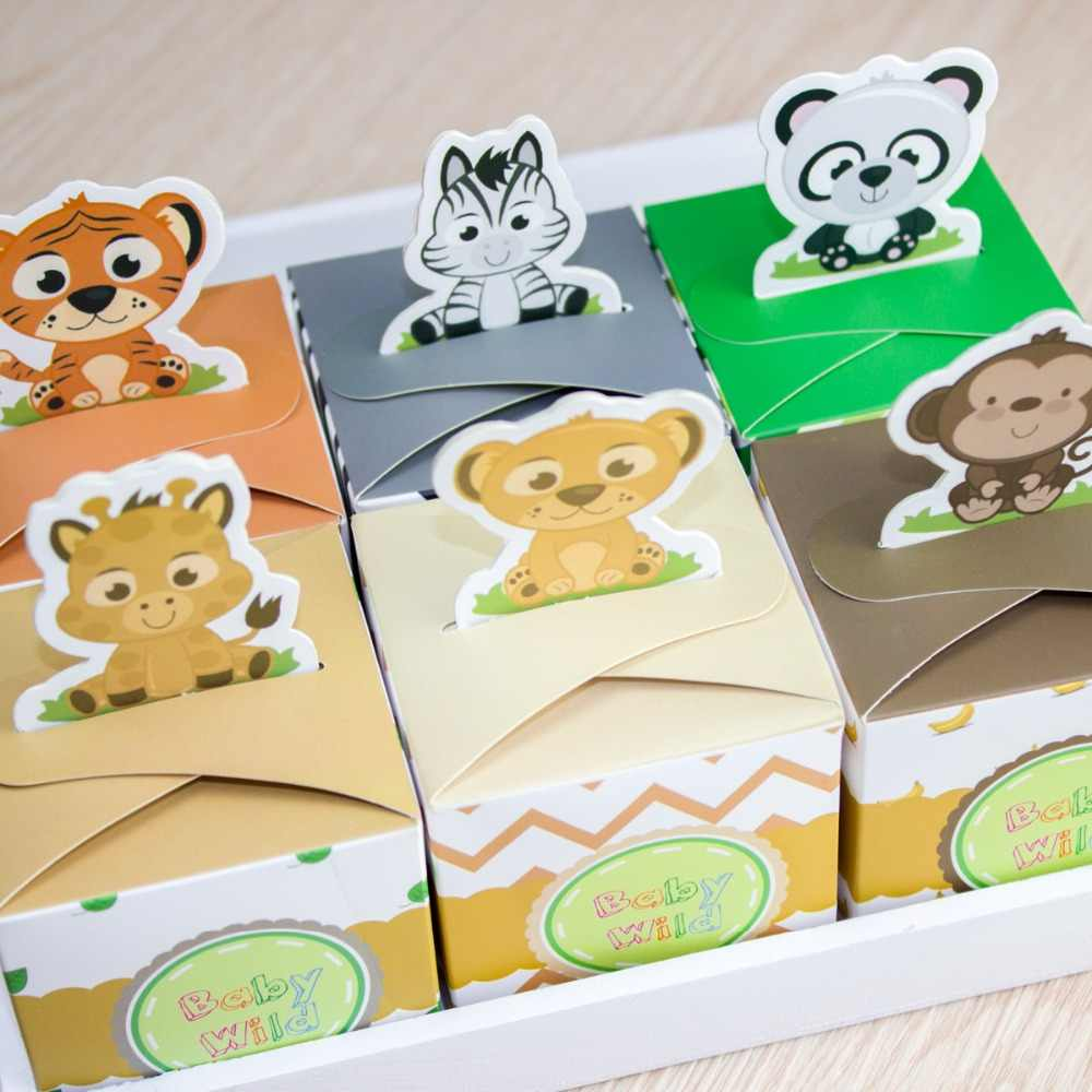 12PCS Baby Shower Favors Safari Animal Wild Favor Box Candy Box Souvenir Boy/Girl Kids Event & Party Supplies