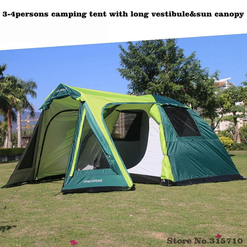 New arrivals 3-4persons 1hall and 1room outdoor family camping tent in high quality with long vestibule and sun canopy outdoor double layer 10 14 persons camping holiday arbor tent sun canopy canopy tent