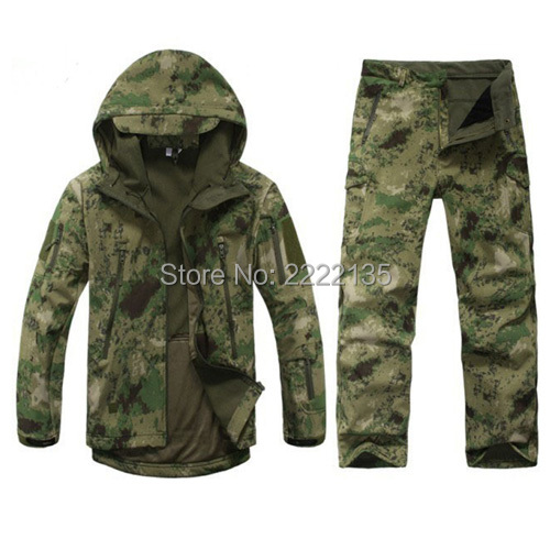 TAD 4.0 Shark Skin Soft Shell Lurkers Military Camouflage Jacket+Pants Hunting Uniform Suits Outdoor Tactical Gear