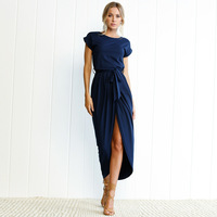 Dress Women Summer 2018 Soild Color Plus Size Women Long Dress Short Sleeve Sexy Irregular Elegant