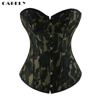 Army Green Camo Sexy Corset Overbust Basque Shapewear Corselet Bustier Slimming Bodyshaper