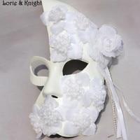 La moitié Du Visage Vénitien Carnaval Princesse Masque Gothique Halloween Mascarade Classique Masque avec des Fleurs BLANC/NOIR