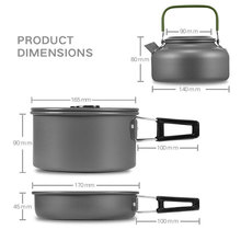 Outdoor Tableware Portable Camping Pot Pan Kettle Set Aluminum Alloyr Cookware Teapot Cooking Tool Picnic BBQ 3pcs/Set Utensils new non stick aluminum camping cookware alocs ultralight outdoor cooking picnic set camp pot pan kettle dishcloth for 2 3 people