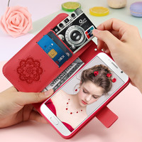 FLOVEME Luxury Flip Leather Case For Samsung Galaxy S5 Folding Card Slot Campanula Floral Pattern Cover