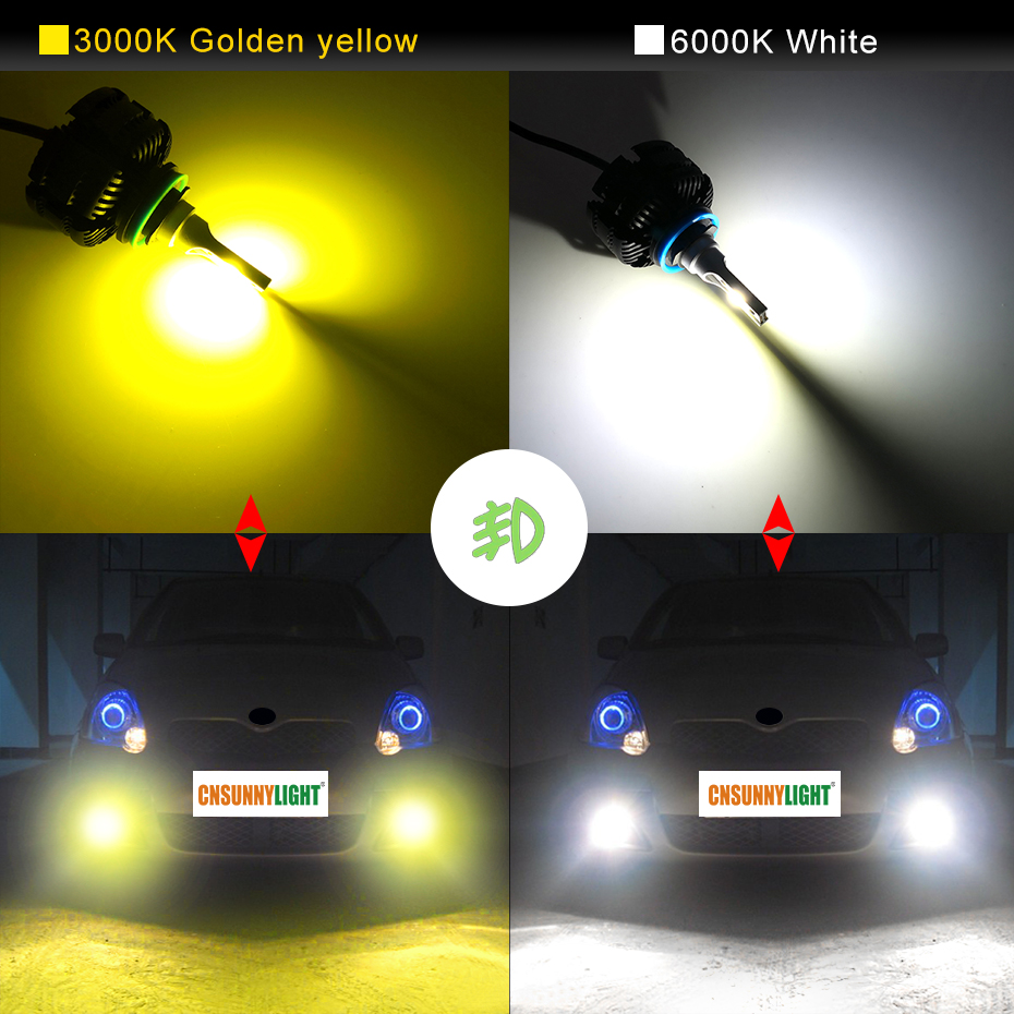 Image 3 - CNSUNNYLIGHT Long Life LED H11 H8 Car Headlight Fanless 3600Lm/Bulb 9005 HB3 9006 HB4 White Yellow Light Foglamp Car Accessories-in Car Headlight Bulbs(LED) from Automobiles & Motorcycles