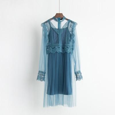 2017 Autumn new female ruffles sweet gauze lace pressure pleated one-piece dress women's waist slim full dress twinset 3