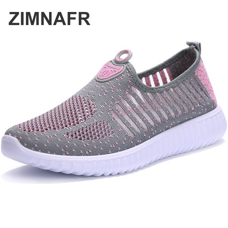 zimnafr women fashion sneakers Summer old Beijing casual shoes breathable mesh thick bottom light mother flat sandals
