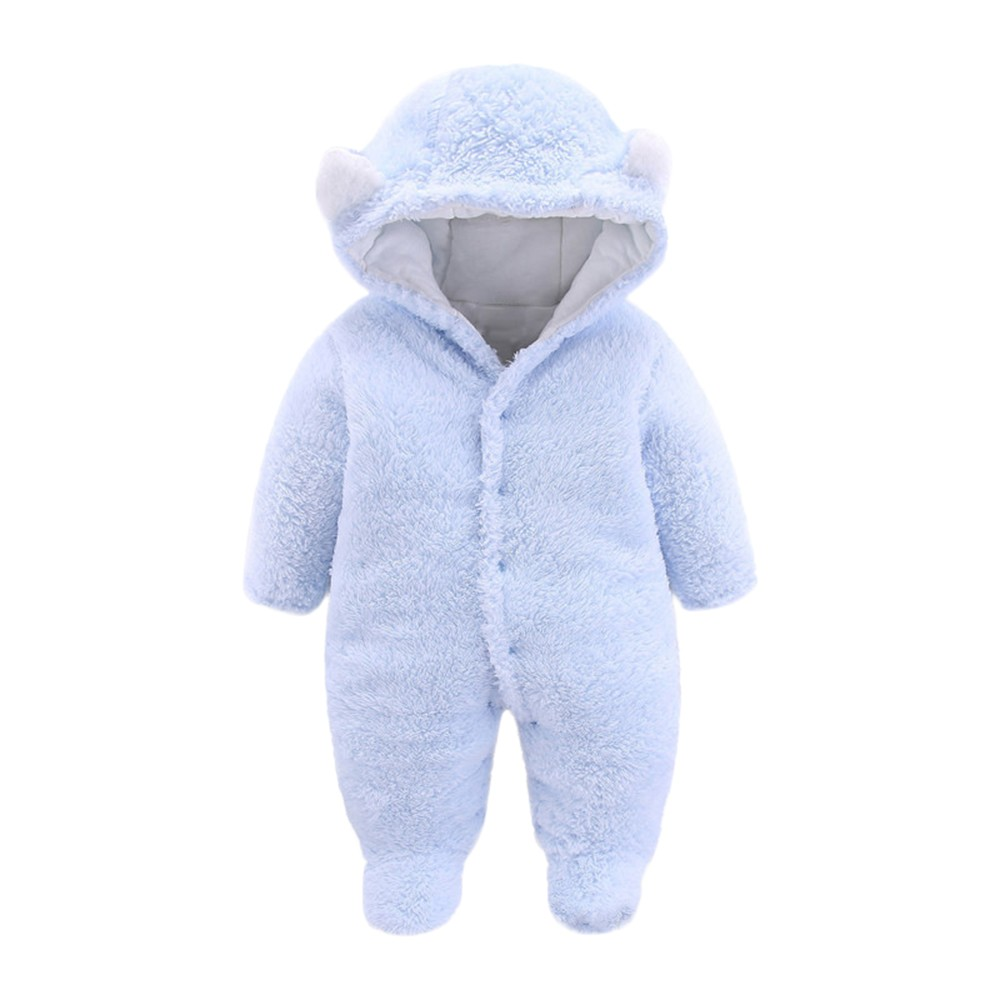 Mother & Kids Bodysuits Newborn Baby Girl Boy Solid Bear Velvet Hooded Jumpsuit Hooded Romper Clothes