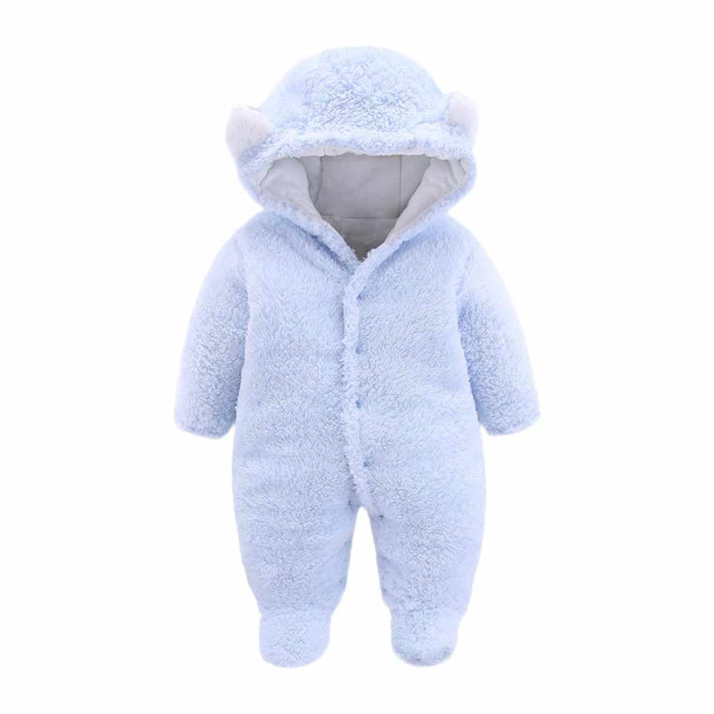 d80fbd8b8 ... Newborn Baby Girls Boys Clothes Solid Cartoon Ear Velvet Hooded  Jumpsuit Romper Clothes Kids Winter Warm ...