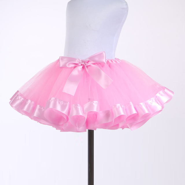 Pink Kids Girls Tutu Skirt  Baby Tutus Cute Fluffy Pettiskirt With Satin Ribbon Tulle Skirt  Dancewear Party Princess Skirts New