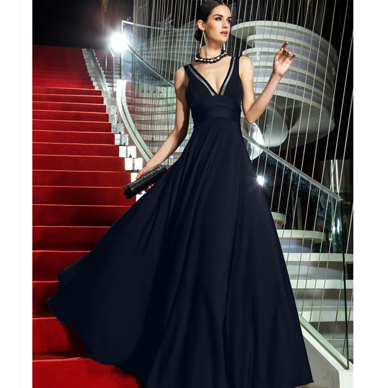 TS Couture A Line V neck Floor Length Jersey Homecoming Prom Formal ...