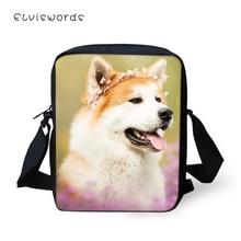 ELVISWORDS Fashion Women Flaps Messenger Bags Flower Shiba Inu Dogs Pattern Girls Cross Body Bag Kawaii Animal Mini Purses