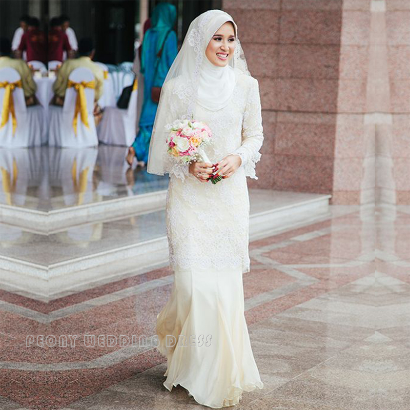 Muslim Wedding Gown Pictures: Fashion Simple Chiffon Lace Hijab Muslim Wedding Dresses
