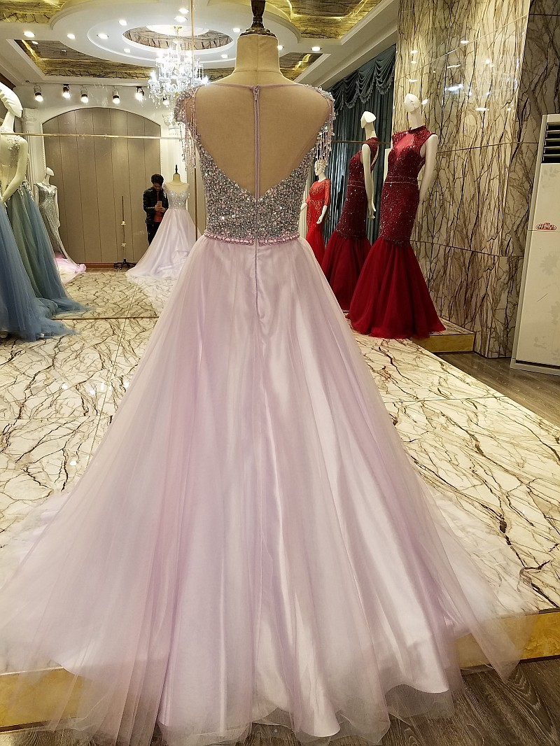 Charming Evening Gowns China Dubai Long Prom Dress Crystal A Line Cap Sleeves Zipper Back Avondjurken 2018 Real Photos(China)