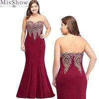2019 Robe De Soiree Mermaid Burgundry Long Evening Dress plus size Party Elegant Vestido De Festa Long Prom Gown 2019