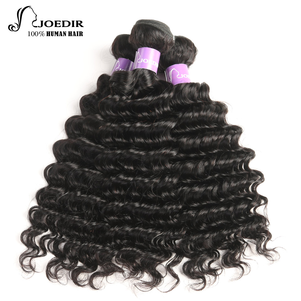 Joedir Hair Brazilian Deep Wave 3 Bundles Deal Free Shipping Non-Remy 100% Human Hair Weave Bundles Natural Color Hair Extention