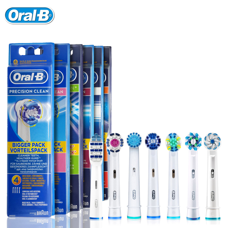 Oral B Genuine Replaceable Brush Heads Precision Clean Rotation Electric Toothbrush 4 heads EB17/EB18/EB20/EB25/EB30/EB50/EB60 original oral b toothbrush head eb20 precision clean brush heads for oral b rotation electric toothbrush 4 heads