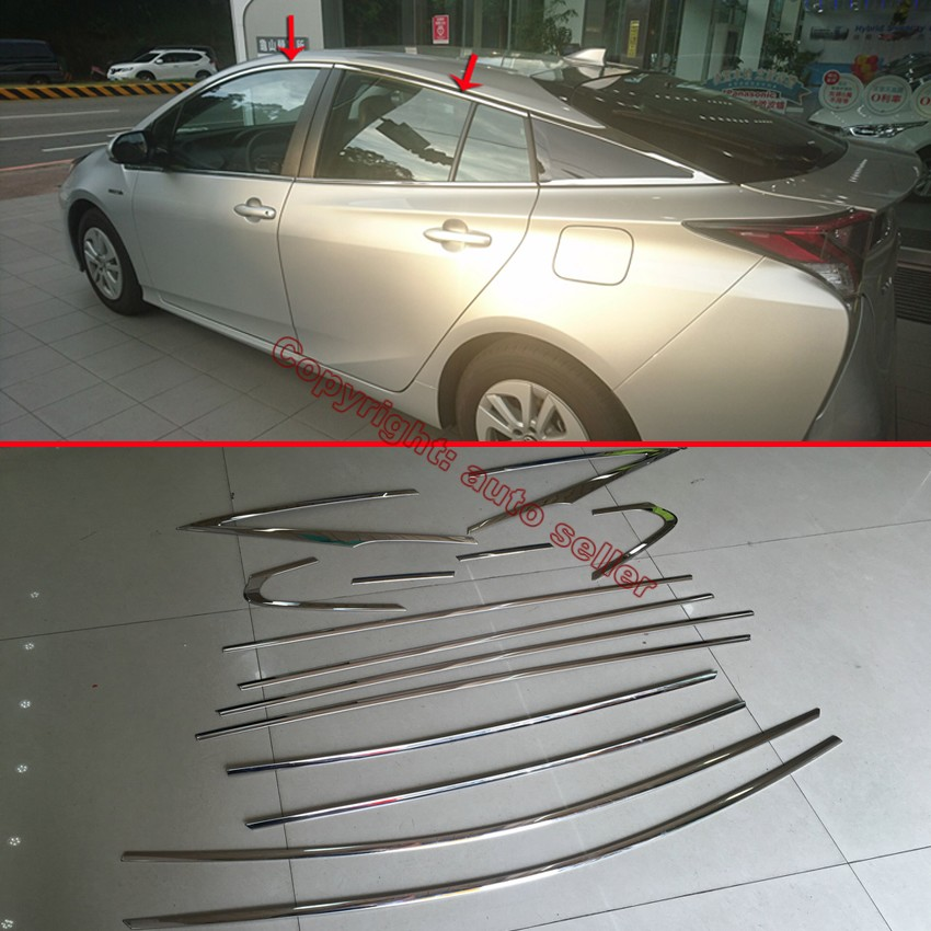 ФОТО Stainless Steel All Window Frame Trim For Toyota Prius 2016 2017