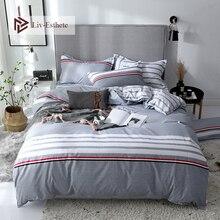 Liv-Esthete Fashion Stripe Gray Bedding Set Soft Duvet Cover Flat Sheet Bedspread Single Double Queen King Bed Linen For Adult