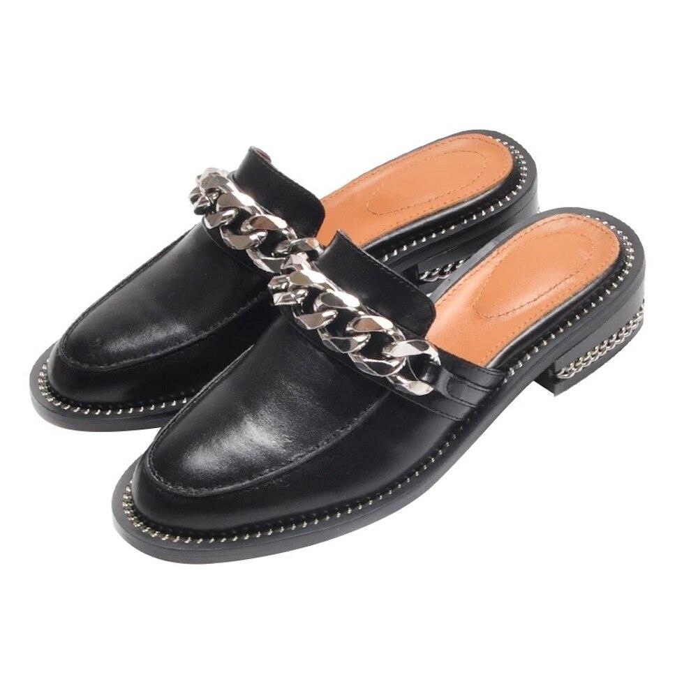 2019 nuevas zapatillas de mujer de moda perlas de tacón plano sandalias de cuero genuino mujeres zapatos de verano zapatillas suaves de calidad superior-in Zapatillas from zapatos    1